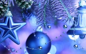 Cool Blue Christmas Ornaments  wallpaper
