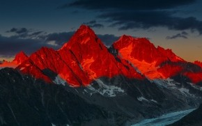 Red Sunset Over Mountains