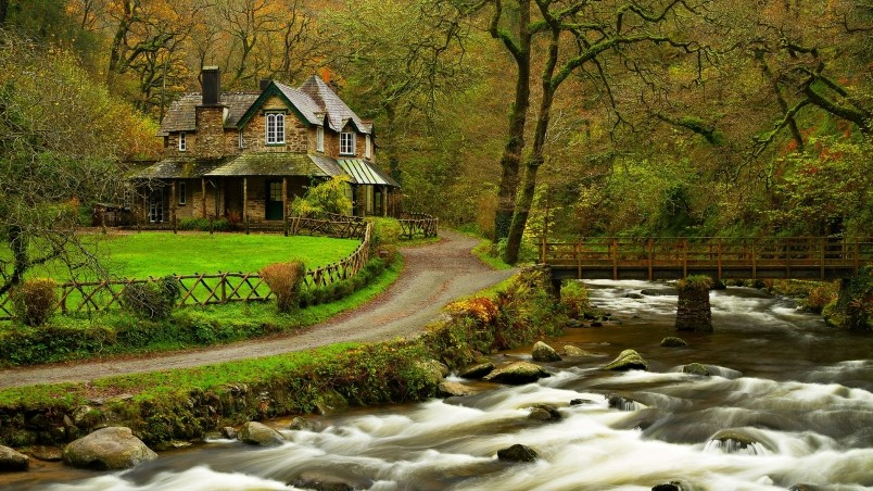 House in the woods hd wallpaper wallpaperfx - Houses woods nature integrated ...