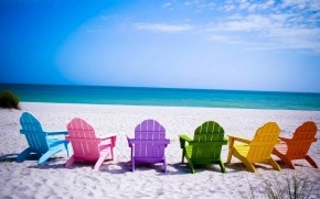 Colorful Beach Chairs Wallpaper wallpaper