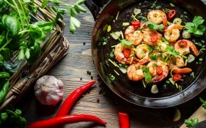Shrimp with Pepper Chili Garlic Herbs wallpaper