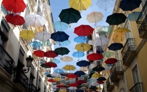 City of Umbrellas wallpaper