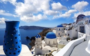 Blue Santorini Greece wallpaper