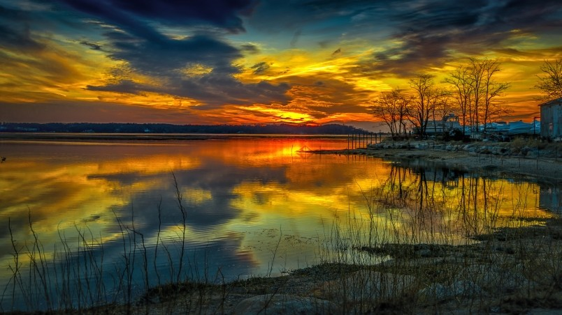 Yellow Sunset Over the Lake  wallpaper