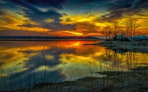Yellow Sunset Over the Lake
