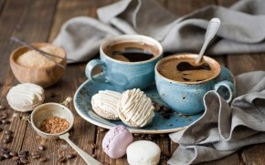 Coffee and Macarons wallpaper