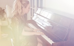 Emily Kinney Playing Piano wallpaper