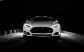 White Tesla Front  wallpaper