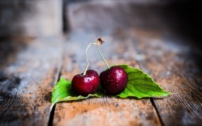 Two Cherries with Leaves wallpaper