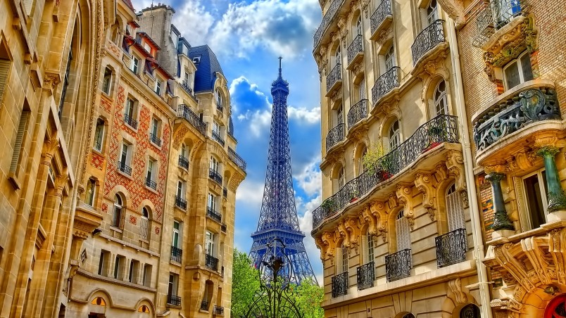 Paris Street Corner View wallpaper