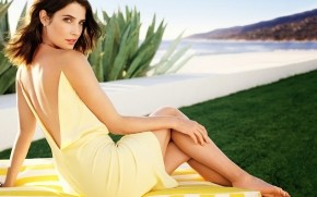 Cobie Smulders Yellow Dress wallpaper