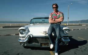 Cadillac and Arnold Schwarzenegger wallpaper