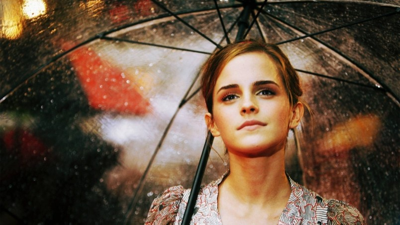 Emma Watson Umbrella wallpaper