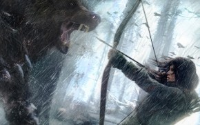 Rise of the Tomb Raider Lara Croft Fighting Bear Art wallpaper