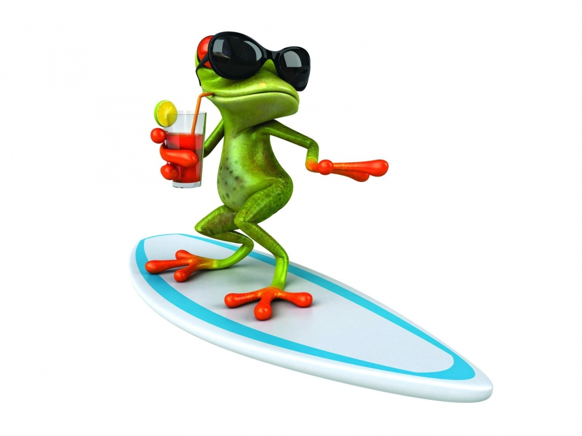 3D Frog Surfing  for 1152 x 864 resolution