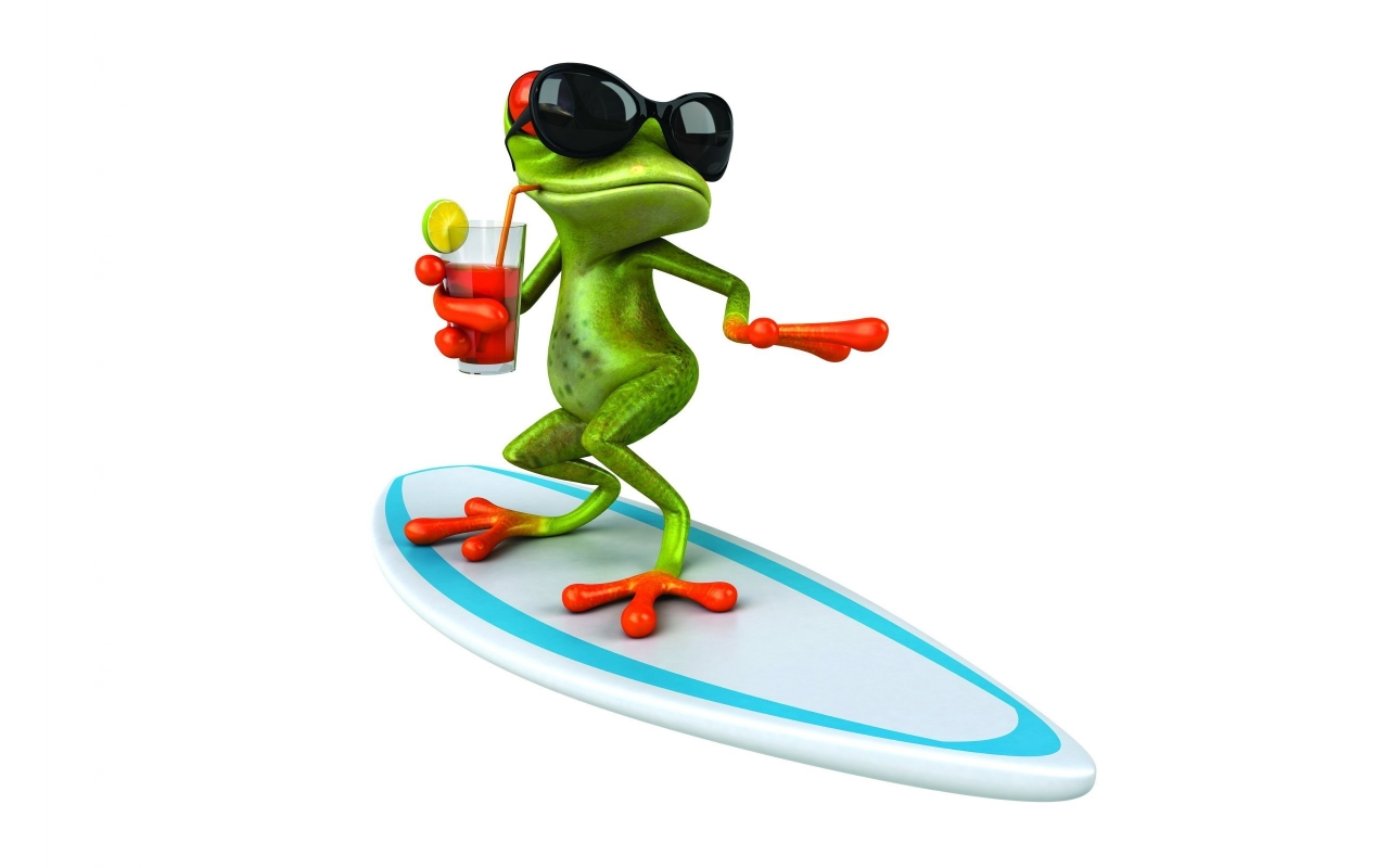 3D Frog Surfing  for 1280 x 800 widescreen resolution