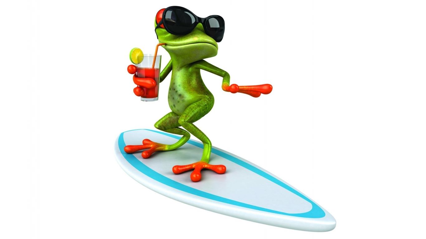 3D Frog Surfing  for 1366 x 768 HDTV resolution
