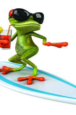 3D Frog Surfing  for 320 x 480 iPhone resolution