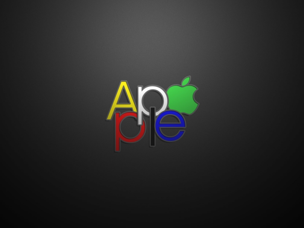 Apple Text Logo for 1024 x 768 resolution