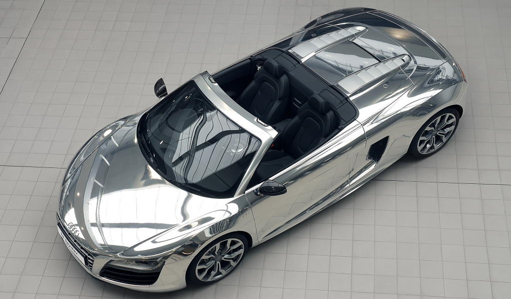 Audi R8 V10 Spyder Chrome for 1024 x 600 widescreen resolution