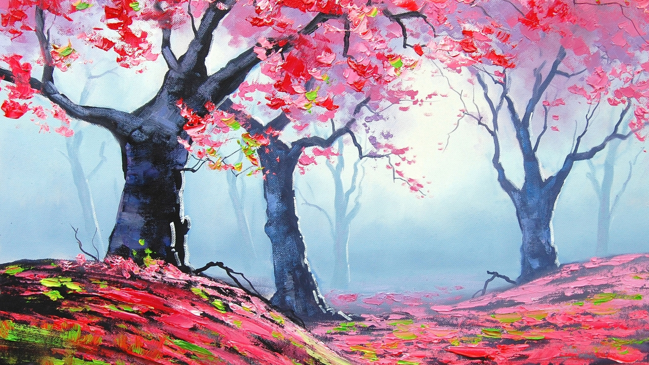 Autumn Red Forest Painting for 1280 x 720 HDTV 720p resolution