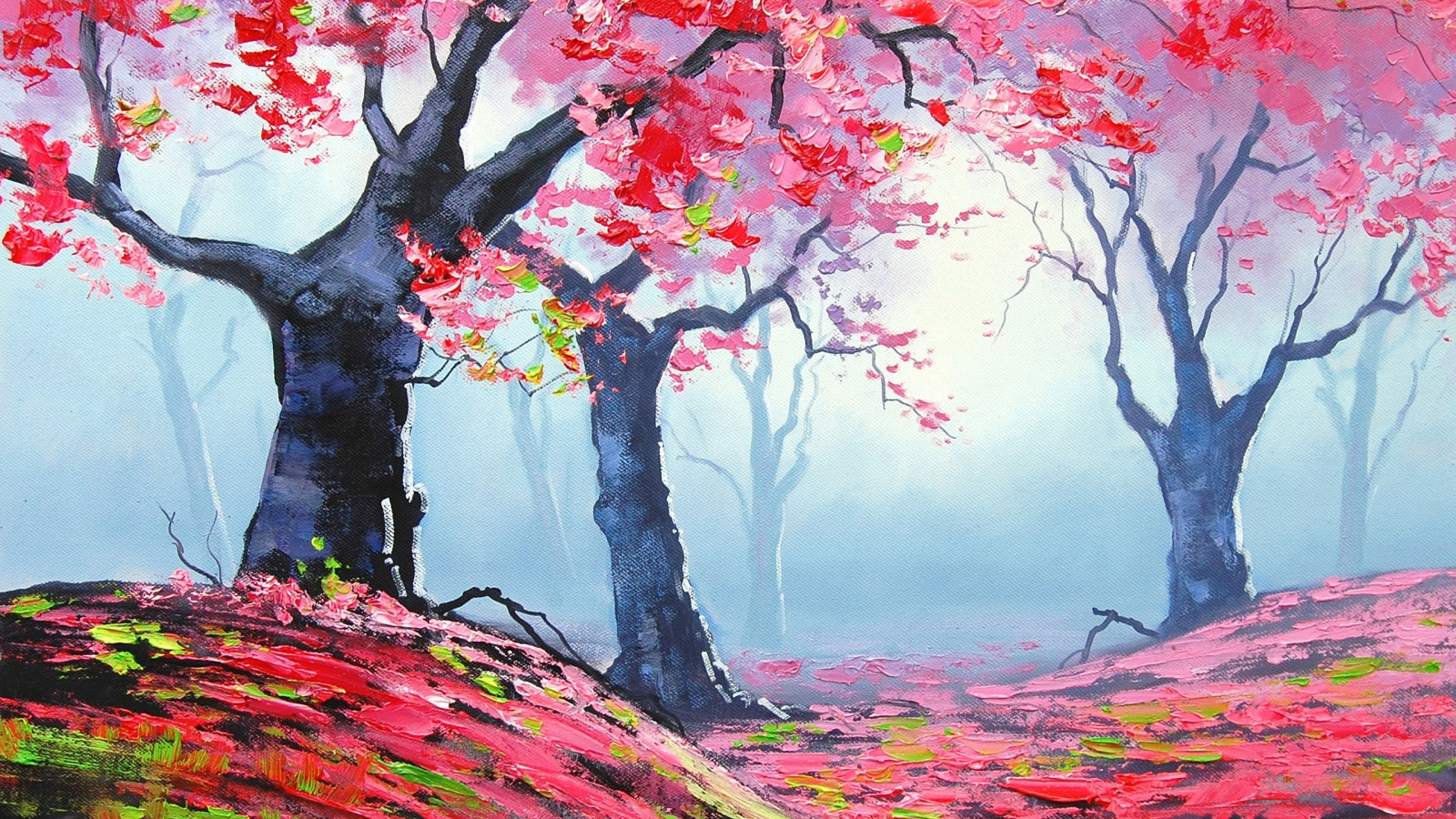 Autumn Red Forest Painting for 1600 x 900 HDTV resolution