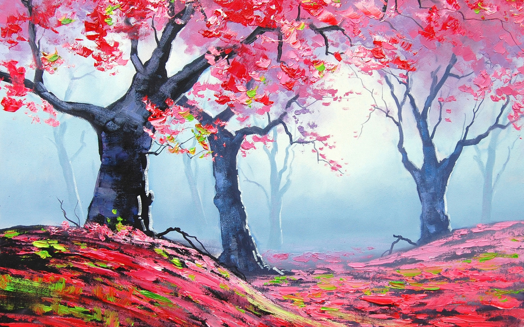Autumn Red Forest Painting for 1680 x 1050 widescreen resolution