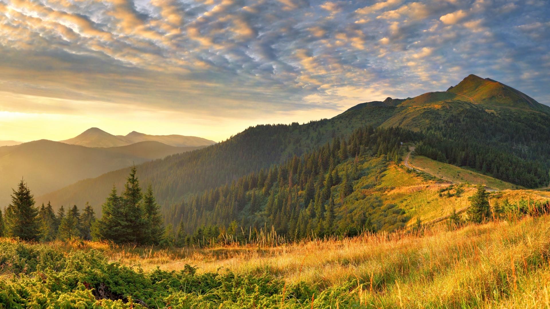 Настроения hd обои для рабочего стола. утро, облака, холмы, пейзажи, облако.