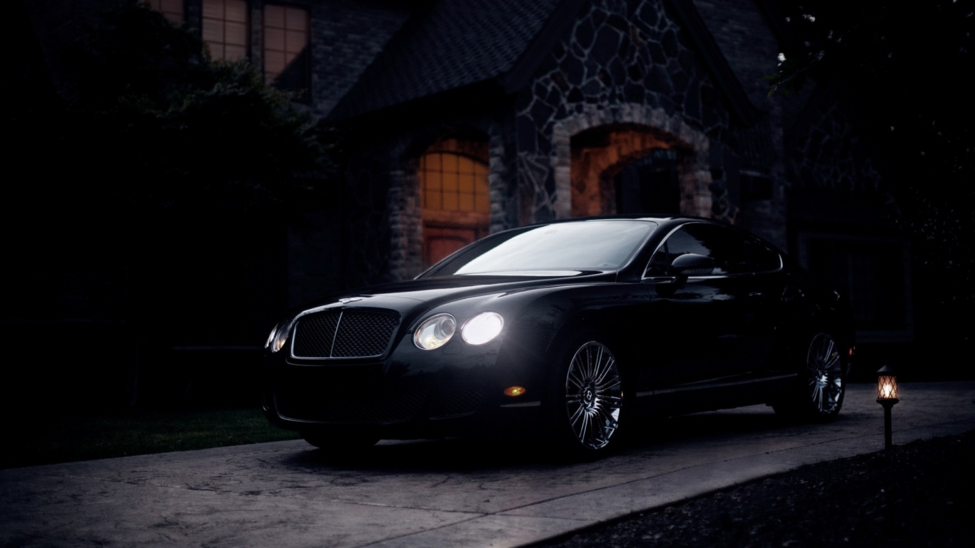 Black Bentley Continental GT for 1366 x 768 HDTV resolution
