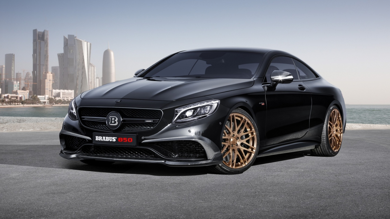 Black Mercedes Benz S63 AMG Brabus  for 1366 x 768 HDTV resolution