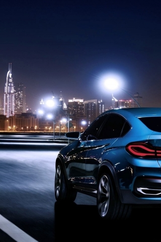 Blue BMW X4 Rear for 320 x 480 iPhone resolution
