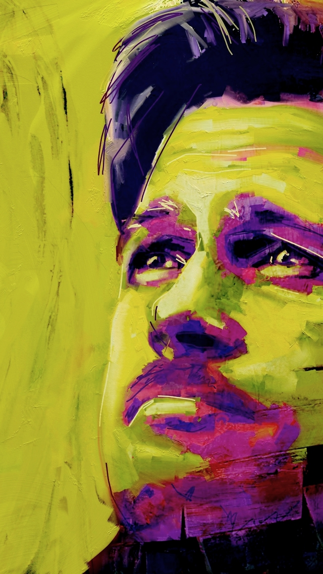 Brad Pitt Painting for 640 x 1136 iPhone 5 resolution