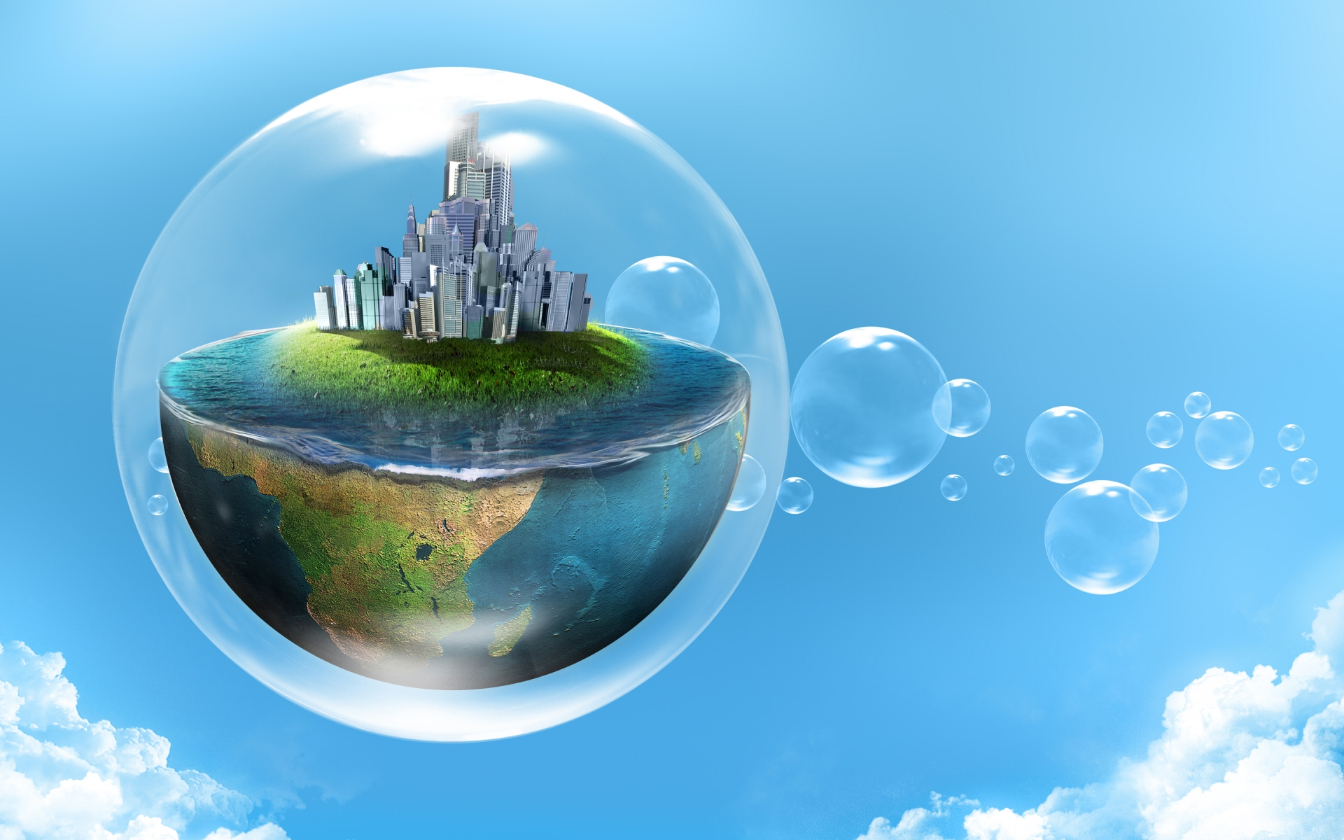 Bubble World for 1920 x 1200 widescreen resolution