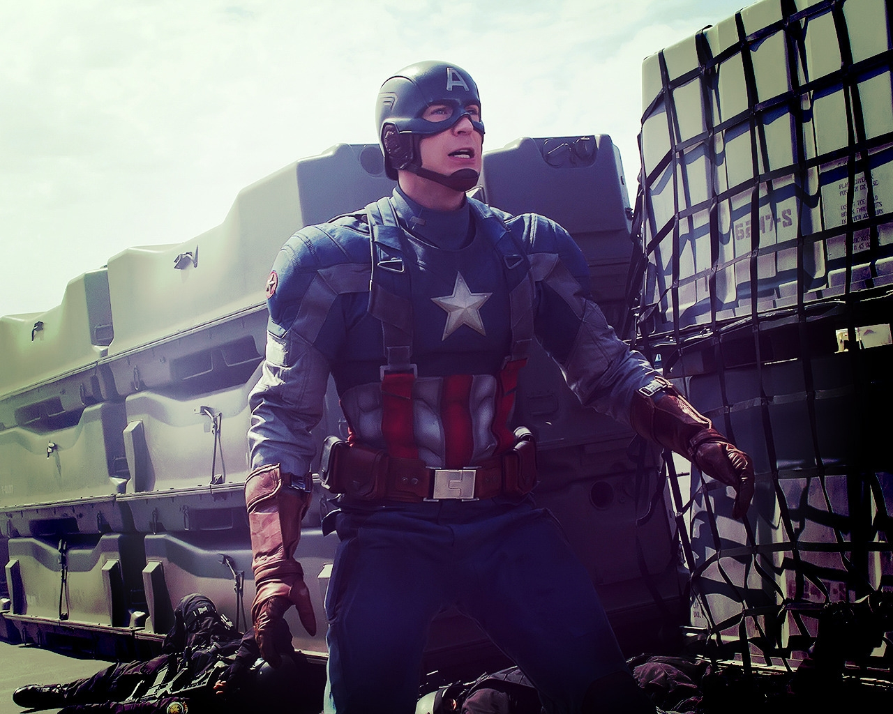Captain America in Action for 1280 x 1024 resolution