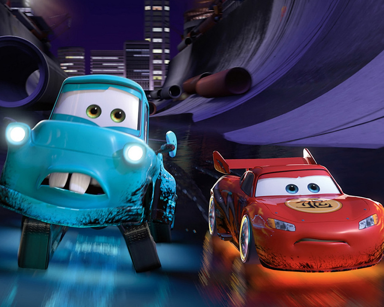 Cars 2 Lightning McQueen and Mater for 1280 x 1024 resolution