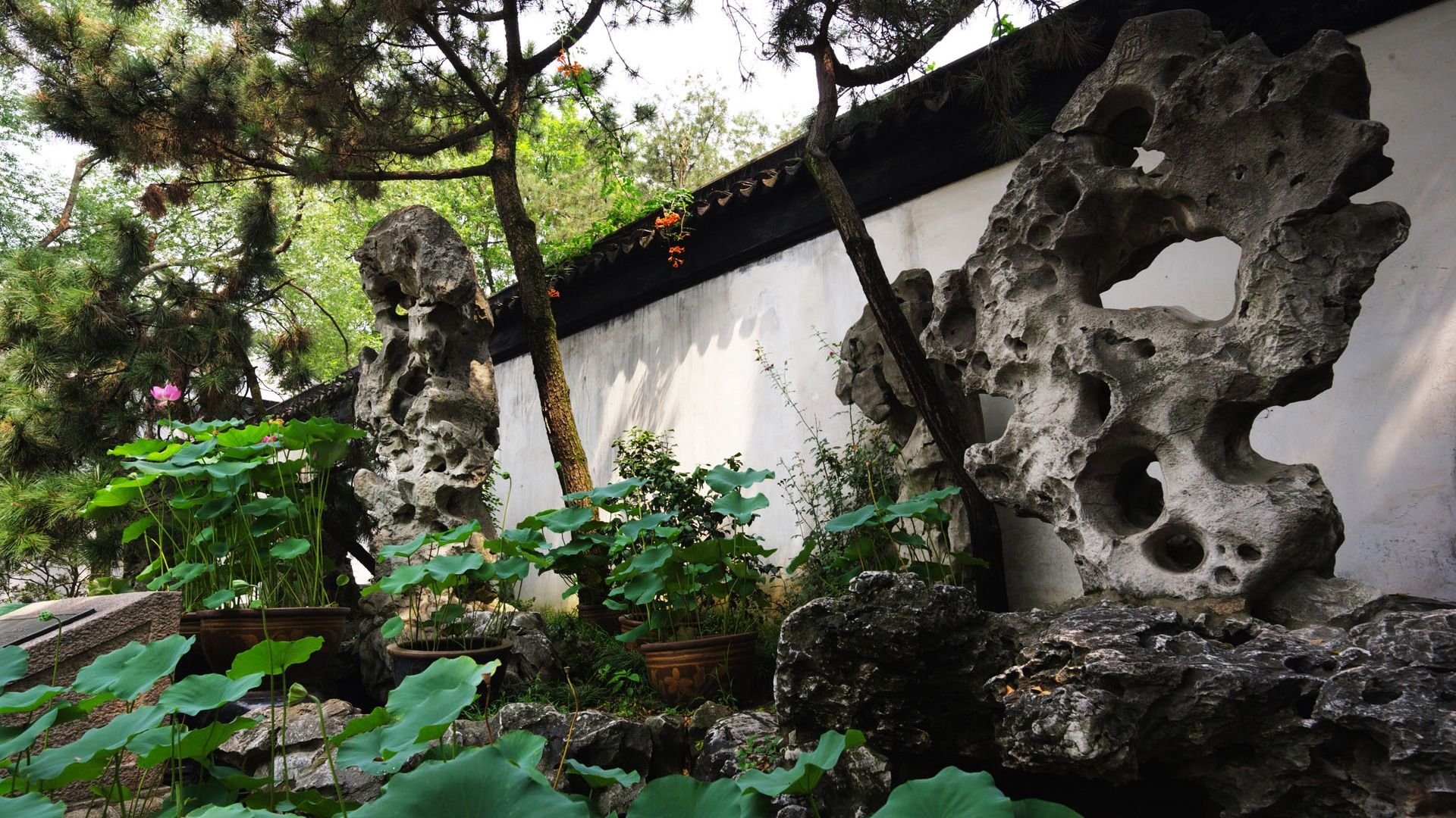 Chinese Garden Architecture for 1920 x 1080 HDTV 1080p resolution