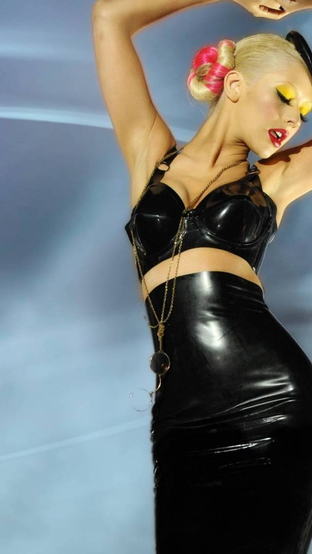 Christina Aguilera Leather Dress for 640 x 1136 iPhone 5 resolution