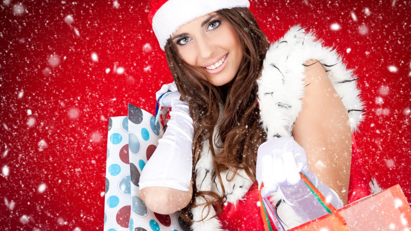 Christmas Beautiful Girl for 1366 x 768 HDTV resolution