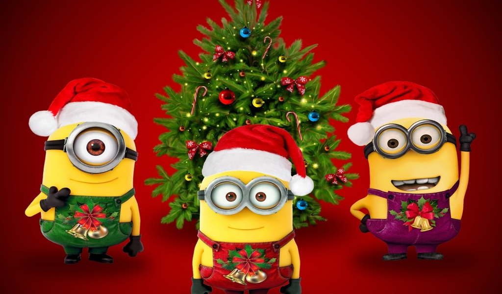 Christmas & Minions for 1024 x 600 widescreen resolution