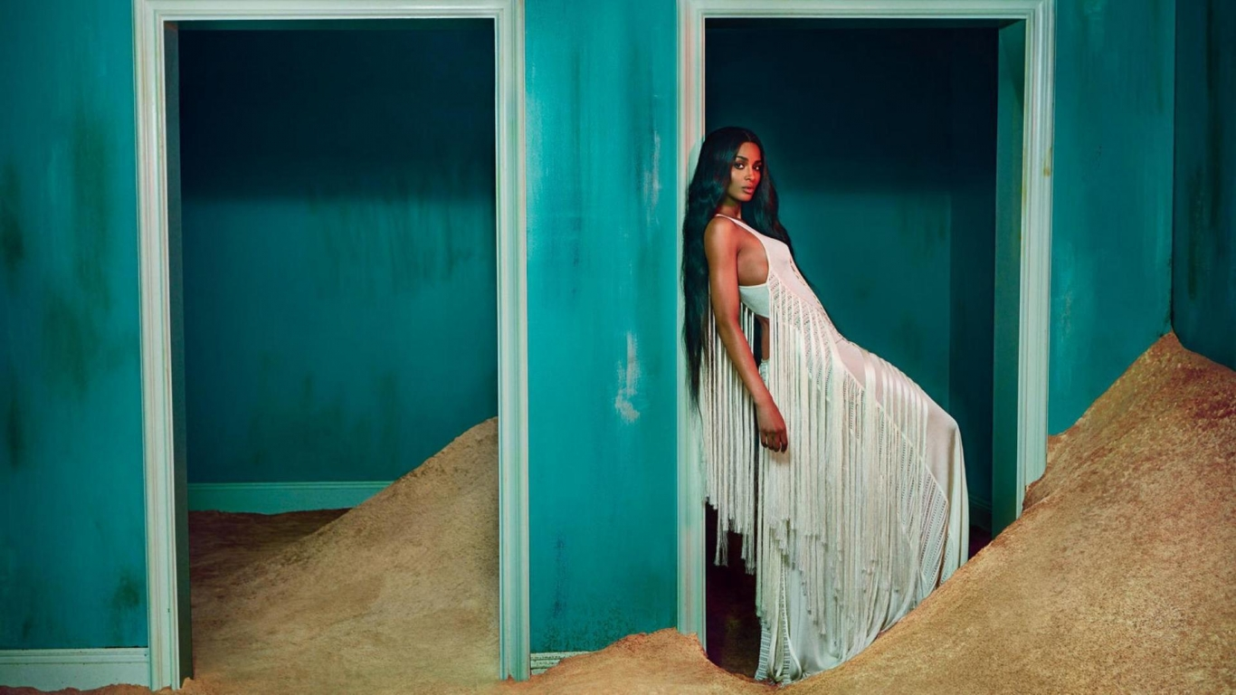 Ciara White Dress for 1366 x 768 HDTV resolution