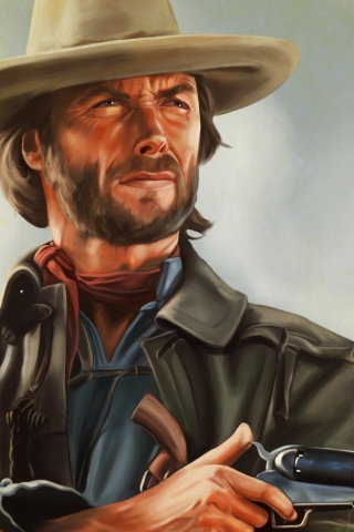 Clint Eastwood Artwork for 320 x 480 iPhone resolution