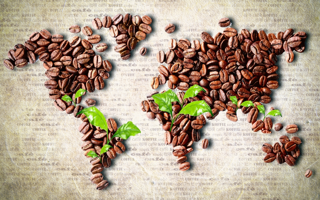 Coffee Beans World Map for 1280 x 800 widescreen resolution