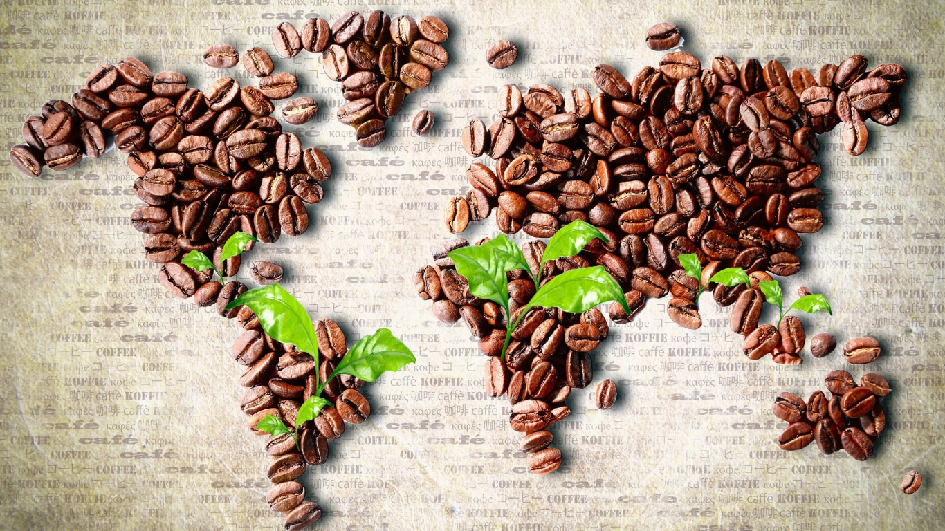 Coffee Beans World Map for 1366 x 768 HDTV resolution