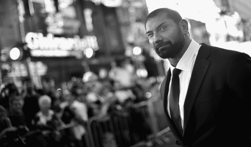 Dave Bautista Black and White for 1024 x 600 widescreen resolution