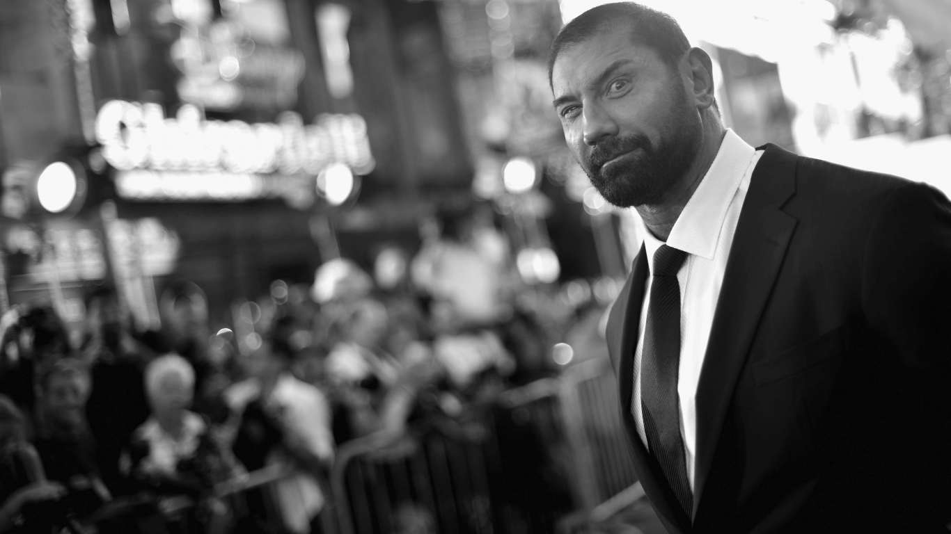 Dave Bautista Black and White for 1366 x 768 HDTV resolution