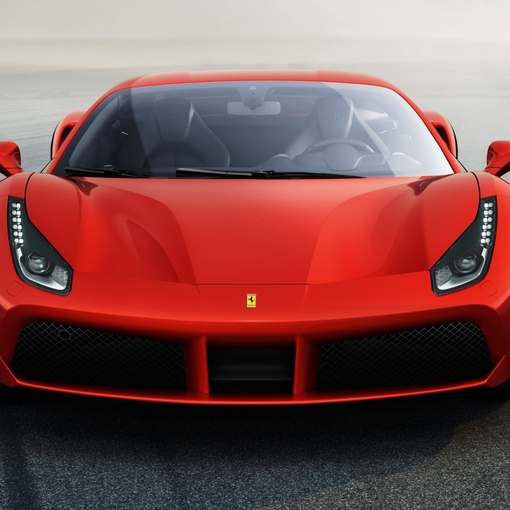 Ferrari 488 GTB Front View 1024 x 1024 iPad Wallpaper