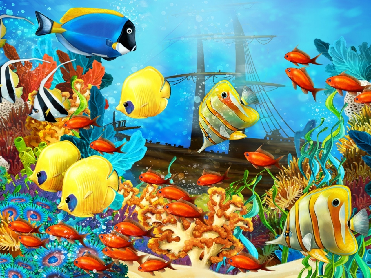 Fish World Painting for 1280 x 960 resolution