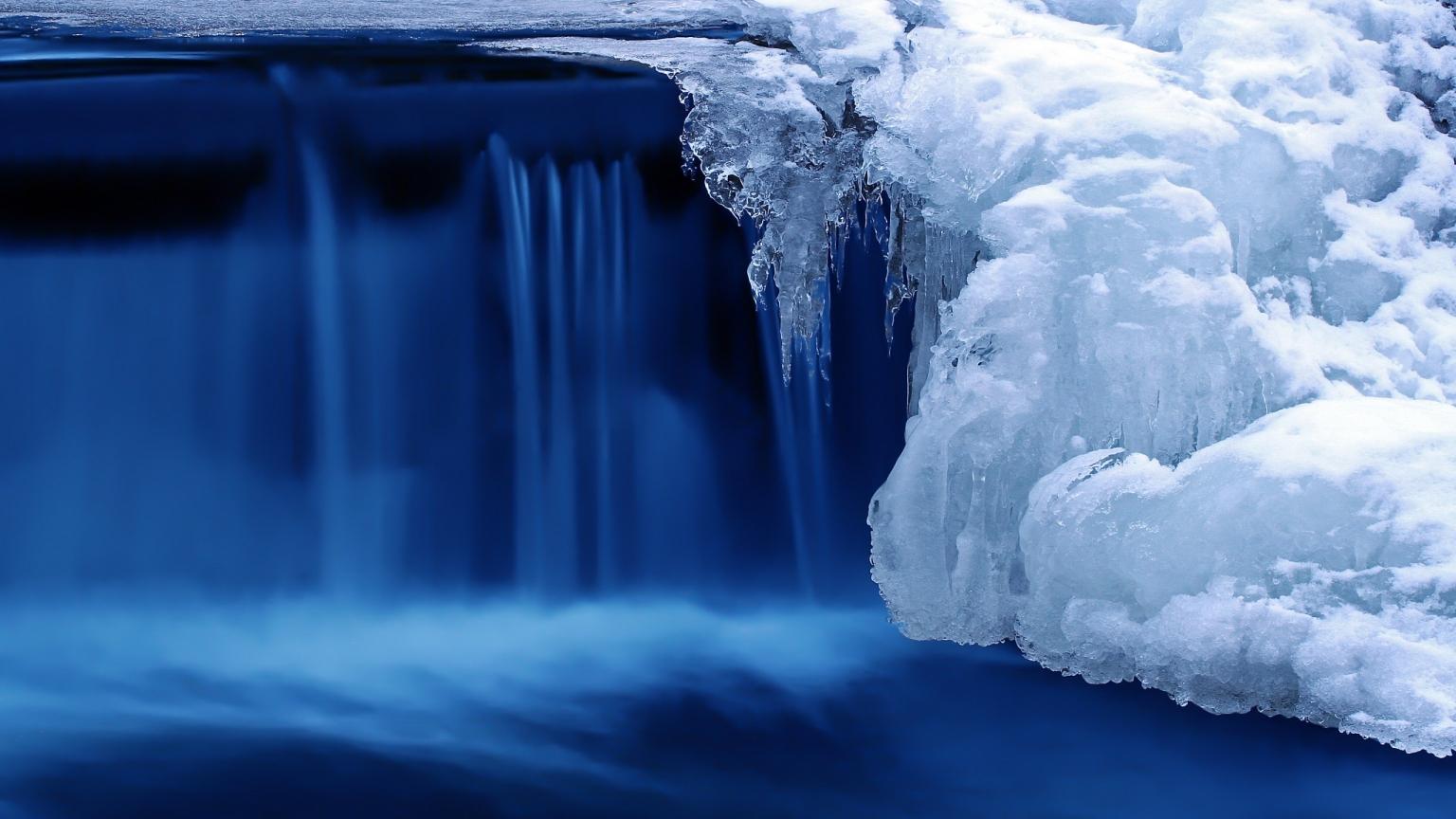 Frozen Cascade 1536 X 864 HDTV Wallpaper