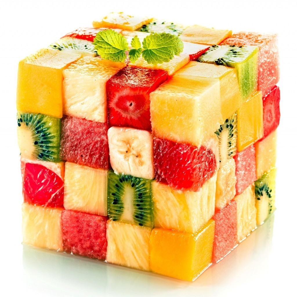 Fruit Salad Cube for 1024 x 1024 iPad resolution