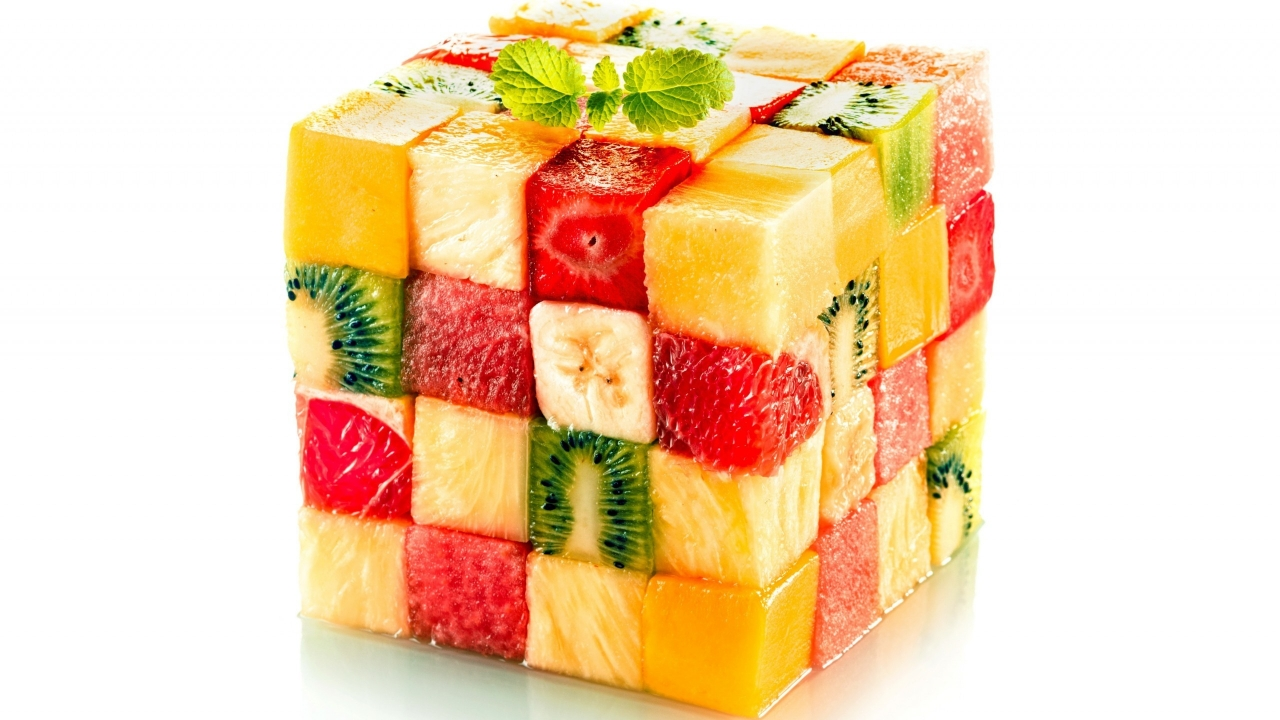 Fruit Salad Cube for 1280 x 720 HDTV 720p resolution